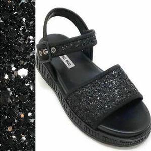 Miu Miu Run Sport Black Glitter Platform Sandal 36